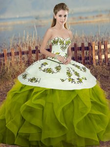 Olive Green Ball Gowns Sweetheart Sleeveless Tulle Floor Length Lace Up Embroidery and Ruffles and Bowknot Sweet 16 Dress