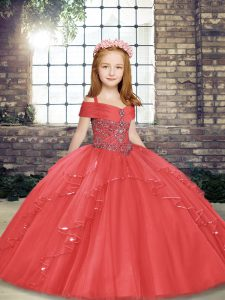 Sweet Coral Red Straps Lace Up Beading and Ruffles Pageant Dress Womens Sleeveless