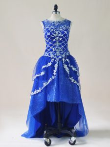 A-line Prom Evening Gown Royal Blue Scoop Tulle Sleeveless High Low Zipper
