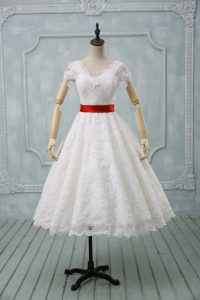 White Wedding Dress Wedding Party with Lace and Belt V-neck Short Sleeves Zipper