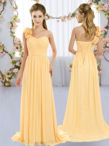 One Shoulder Sleeveless Brush Train Lace Up Court Dresses for Sweet 16 Gold Chiffon