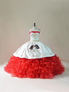 Perfect White And Red Sleeveless Brush Train Embroidery and Ruffles Sweet 16 Quinceanera Dress