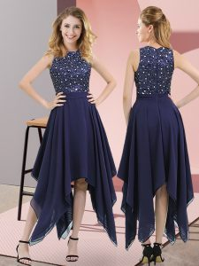 Navy Blue Chiffon Zipper Club Wear Sleeveless Asymmetrical Beading and Sequins