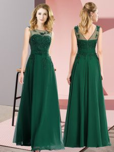 Free and Easy Dark Green Scoop Neckline Beading and Appliques Wedding Guest Dresses Sleeveless Zipper