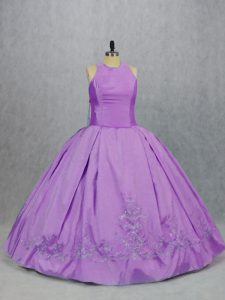 Lilac Scoop Zipper Embroidery 15 Quinceanera Dress Sleeveless
