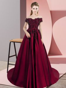 Wine Red Sleeveless Appliques Zipper Quince Ball Gowns