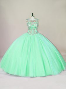 Floor Length Apple Green Ball Gown Prom Dress Scoop Sleeveless Lace Up