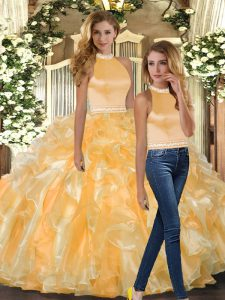 Top Selling Sleeveless Beading and Ruffles Backless Sweet 16 Quinceanera Dress