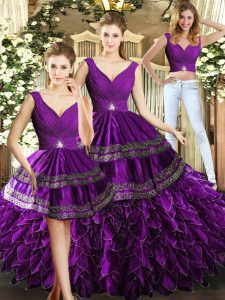 Glittering Purple Backless V-neck Beading and Embroidery and Ruffles Ball Gown Prom Dress Organza Sleeveless