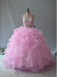 Wonderful Pink Sleeveless Floor Length Beading and Ruffles Backless Sweet 16 Dress