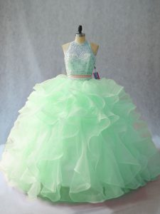 Apple Green 15 Quinceanera Dress Sweet 16 and Quinceanera with Beading and Ruffles Halter Top Sleeveless Brush Train Backless