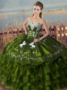 Fantastic Floor Length Lace Up Sweet 16 Dress Olive Green for Sweet 16 and Quinceanera with Embroidery and Ruffles