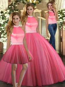 Sleeveless Tulle Floor Length Backless Sweet 16 Dresses in Coral Red with Beading