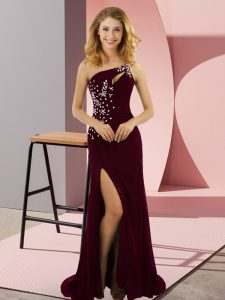 Amazing One Shoulder Sleeveless Sweep Train Beading Burgundy Elastic Woven Satin