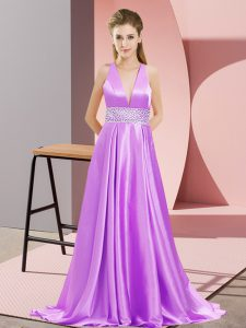 Empire Sleeveless Lavender Celebrity Dress Brush Train Backless