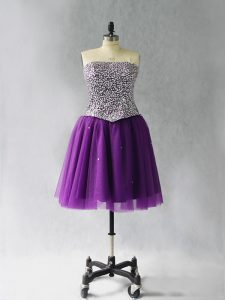Comfortable Purple Strapless Neckline Beading Cocktail Dresses Sleeveless Lace Up