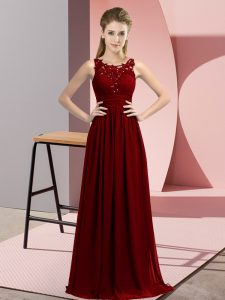 Chiffon Scoop Sleeveless Zipper Beading and Appliques Quinceanera Court Dresses in Burgundy
