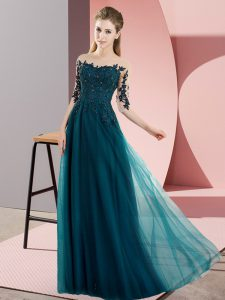 Most Popular Peacock Green Chiffon Lace Up Wedding Guest Dresses Half Sleeves Floor Length Beading and Lace