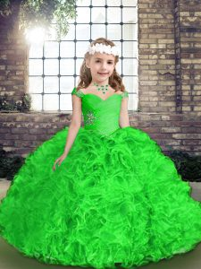 Popular Green Ball Gowns Beading and Ruffles Little Girls Pageant Dress Lace Up Organza Sleeveless Floor Length