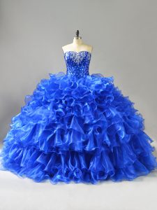 Modest Sleeveless Organza Lace Up 15 Quinceanera Dress in Royal Blue with Beading and Ruffles