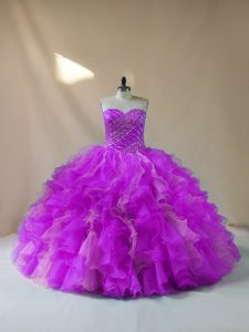 Chic Multi-color Sleeveless Beading and Ruffles Quinceanera Gown