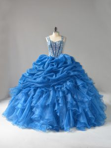 Sophisticated Blue Lace Up Ball Gown Prom Dress Beading and Ruffles Sleeveless Floor Length