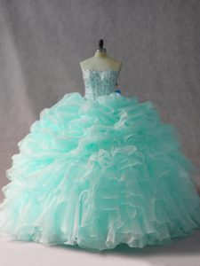 Noble Apple Green Strapless Neckline Beading and Ruffles and Pick Ups Quinceanera Dress Sleeveless Side Zipper