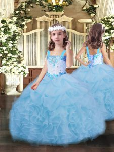 Sleeveless Organza Floor Length Lace Up Pageant Dress for Girls in Blue with Beading and Ruffles and Pick Ups
