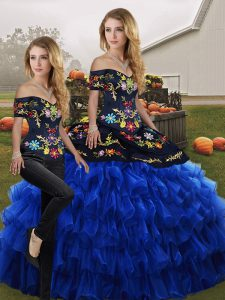 Vintage Blue And Black Sleeveless Embroidery and Ruffled Layers Floor Length Quinceanera Gowns