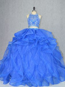 Cute Two Pieces Sleeveless Blue Vestidos de Quinceanera Court Train Backless