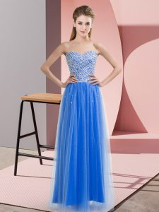 Blue Empire Tulle Sweetheart Sleeveless Beading Floor Length Lace Up Pageant Dress
