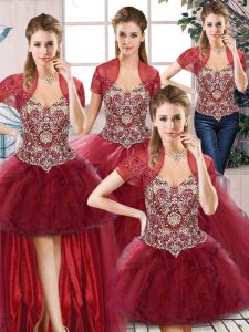 Burgundy Quince Ball Gowns Military Ball and Sweet 16 and Quinceanera with Beading and Ruffles Off The Shoulder Sleeveless Lace Up