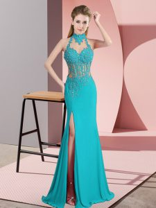 Sleeveless Chiffon Floor Length Backless Prom Dress in Aqua Blue with Beading