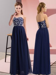 Floor Length Navy Blue Prom Evening Gown Chiffon Sleeveless Beading