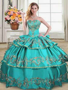 New Style Aqua Blue Ball Gowns Sweetheart Sleeveless Satin and Organza Floor Length Lace Up Embroidery and Ruffled Layers Vestidos de Quinceanera