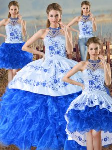 Best Sleeveless Lace Up Floor Length Embroidery and Ruffles Sweet 16 Dresses
