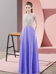 Lavender Satin Backless Dress for Prom Sleeveless Floor Length Beading