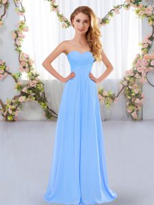 Top Selling Sweetheart Sleeveless Chiffon Quinceanera Court of Honor Dress Ruching Lace Up
