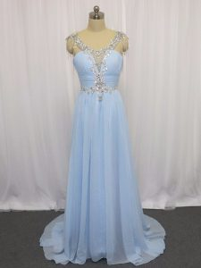 Most Popular Blue Zipper Scoop Beading and Ruching Pageant Dress Womens Chiffon Sleeveless Brush Train