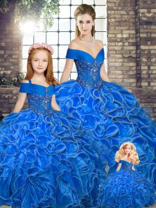 Royal Blue Ball Gowns Organza Off The Shoulder Sleeveless Beading and Ruffles Floor Length Lace Up Quinceanera Dresses