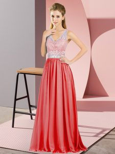 Sleeveless Backless Floor Length Beading and Lace Evening Party Dresses