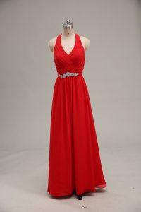 Beautiful Halter Top Sleeveless Chiffon Evening Dress Beading and Ruching Zipper