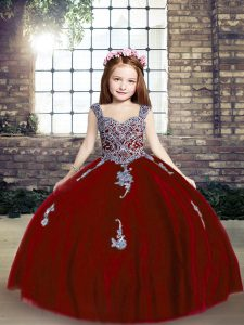 Latest Floor Length Ball Gowns Sleeveless Red Pageant Dress for Womens Lace Up