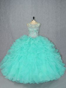 Sleeveless Lace Up Floor Length Beading Quinceanera Dresses