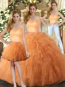 Best Orange Three Pieces Sweetheart Sleeveless Tulle Floor Length Lace Up Ruffles 15 Quinceanera Dress