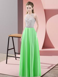 Green Prom Evening Gown Prom and Party with Beading Scoop Sleeveless Backless