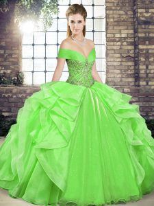 Ball Gowns Organza Off The Shoulder Sleeveless Beading and Ruffles Floor Length Lace Up Sweet 16 Dresses