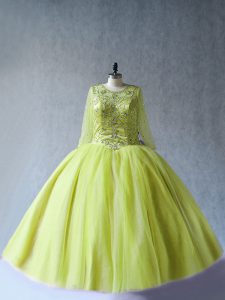 Ball Gowns Ball Gown Prom Dress Yellow Green Scoop Tulle Long Sleeves Floor Length Lace Up