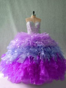 Sleeveless Organza Floor Length Lace Up Sweet 16 Dress in Multi-color with Beading and Ruffles