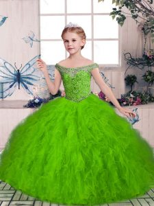 Ball Gowns Off The Shoulder Sleeveless Tulle Floor Length Lace Up Beading and Ruffles Pageant Dress Wholesale